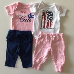 $4 BUNDLED ~ 4th of July Baby girl 4 piece lot